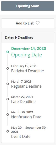 open call 21 calendário